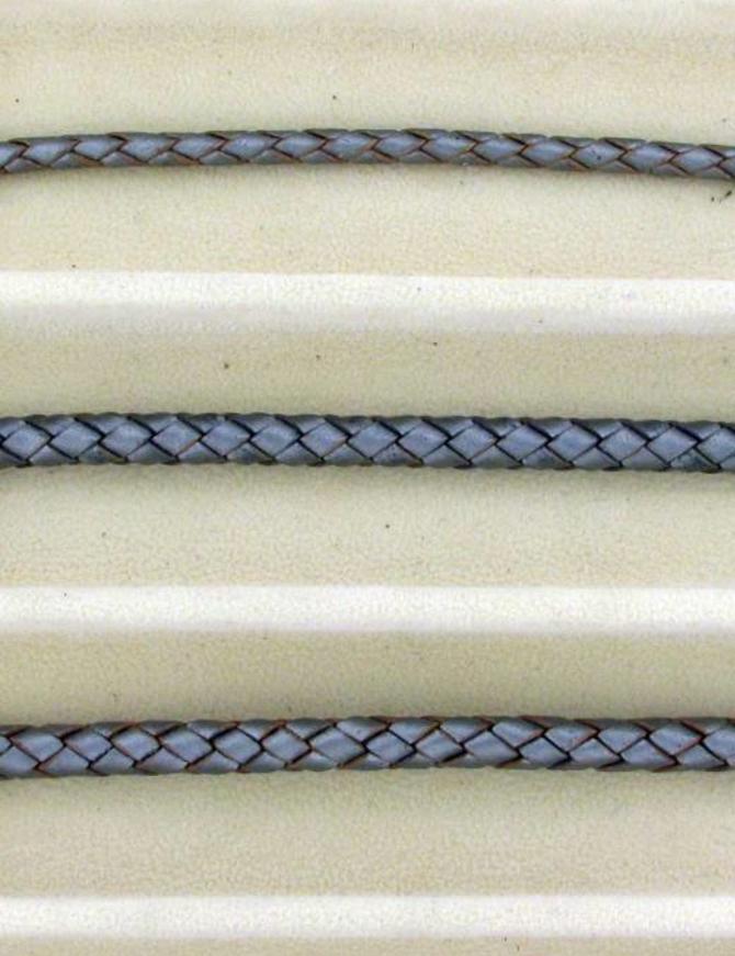biolog.gefärbetes Leder geflochten 4 mm: metallic