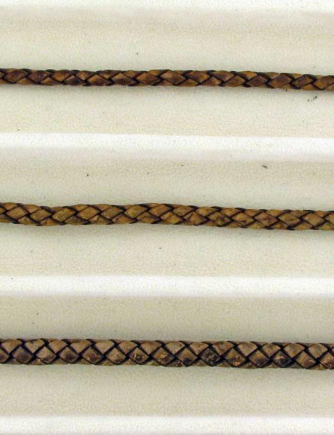 biolog.gefärbetes Leder geflochten 4 mm: chocolate