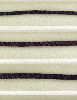 biolog.gefärbetes Leder geflochten 4 mm: violet-pi