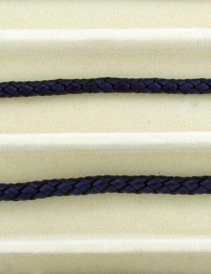 biolog.gefärbetes Leder geflochten 4 mm: violet