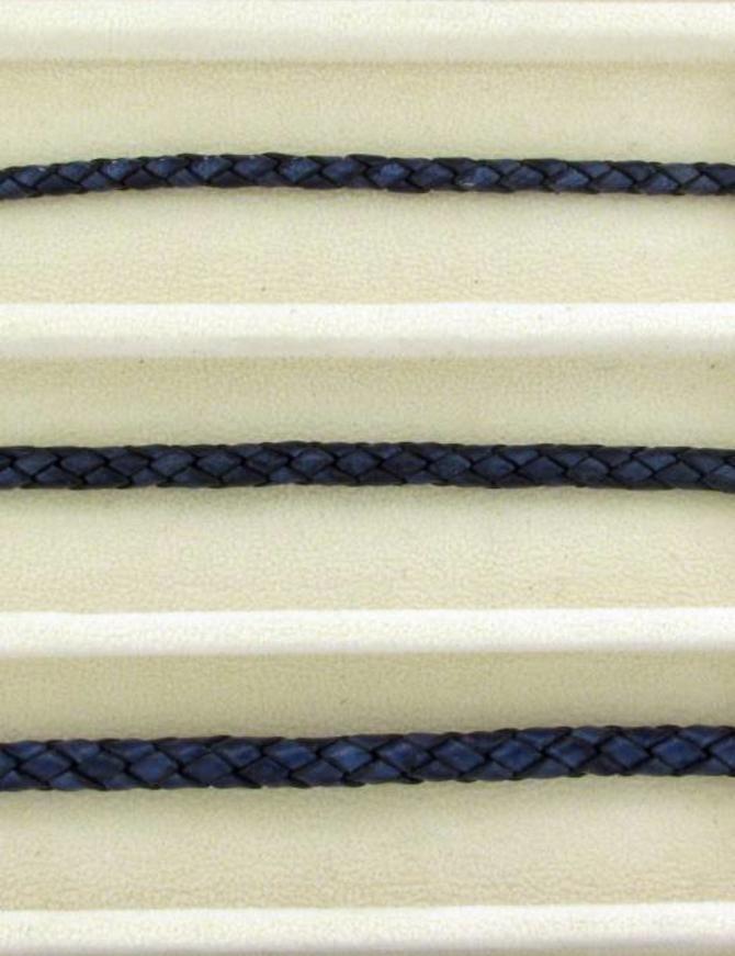 biolog.gefärbetes Leder geflochten 4 mm: blue