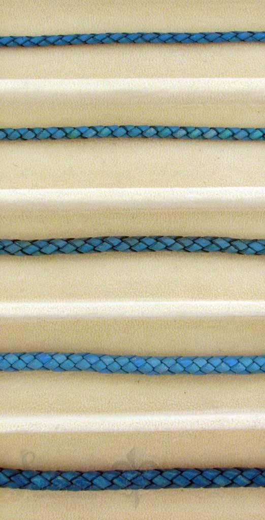biolog.gefärbetes Leder geflochten 4 mm: türkis