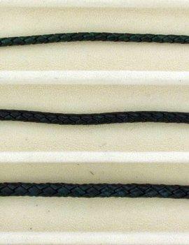 biolog.gefärbetes Leder geflochten 4 mm: dark-gree