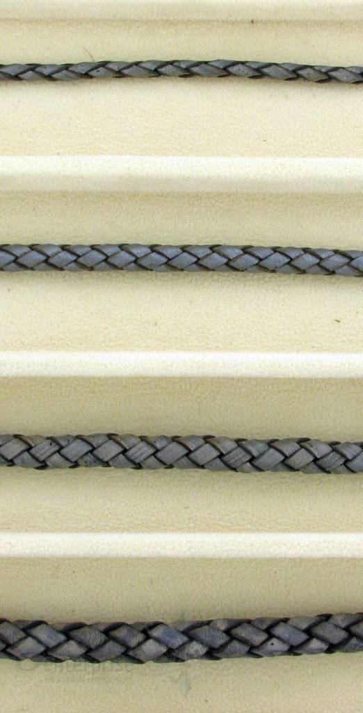 biolog.gefärbetes Leder geflochten 4 mm: aschen-gr