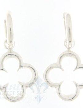 Ohrhänger Silber: Blume mit Creole fein L: 3 cm