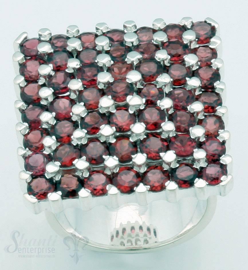 Silberring Quadrat mit 47 Steinen 26x26 mm