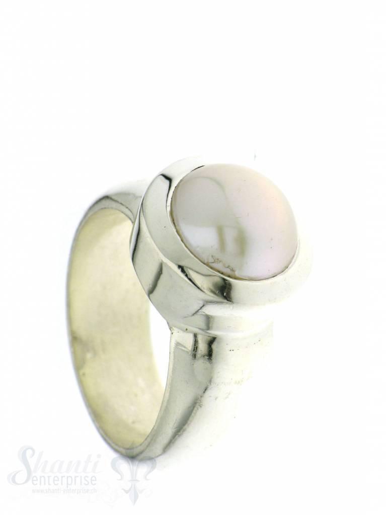Silberring bombiert: Perle weiss 10 mm
