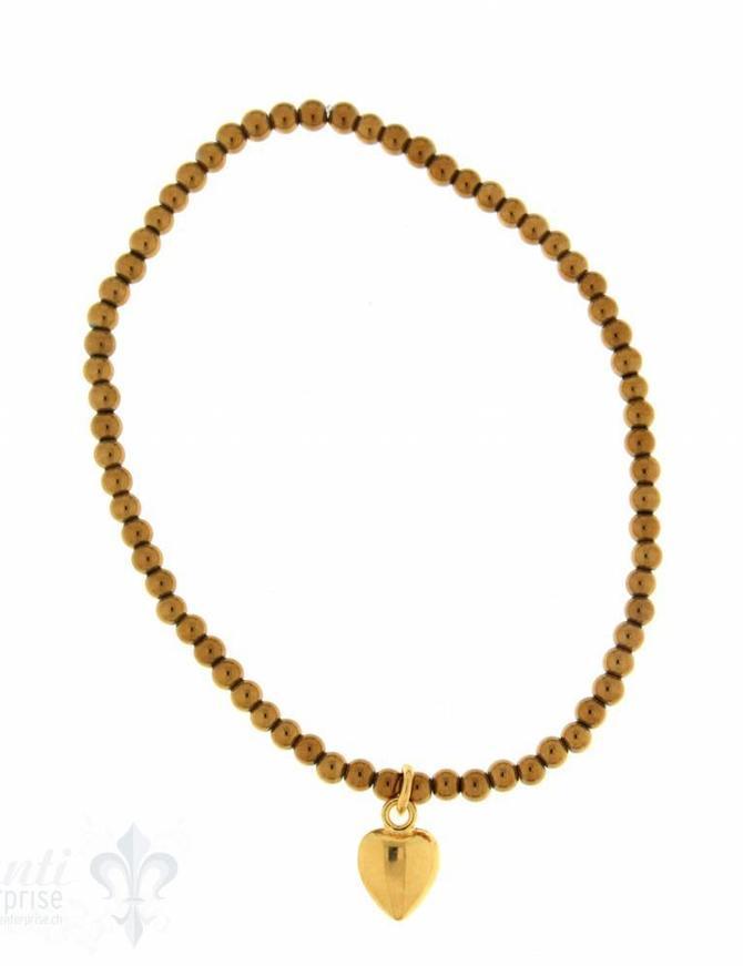 Hämatitarmband 3 mm gelb vergoldet mit Herzanhänge 18cm