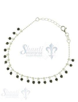 Silberarmkette Kugeli mit Zirkonanhängerli schwarz fac. Länge: 17 / 19 cm verstellbar