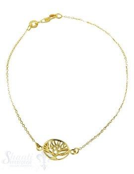Silberarmkette: Anker, Baumamulett in Mitte gelb vergoldet (Flash) Länge: 17 / 18 / 19 cm verstellbar
