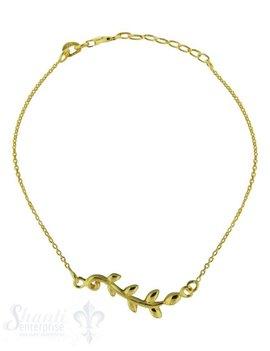 Silberarmkette: Anker mit Blattranke gelb verg oldet (Flash) Länge: 16 / 18 cm verstellbar