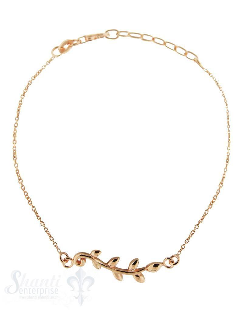 Silberarmkette: Anker mit Blattranke rosé verg oldet (Flash) Länge: 16 / 18 cm verstellbar