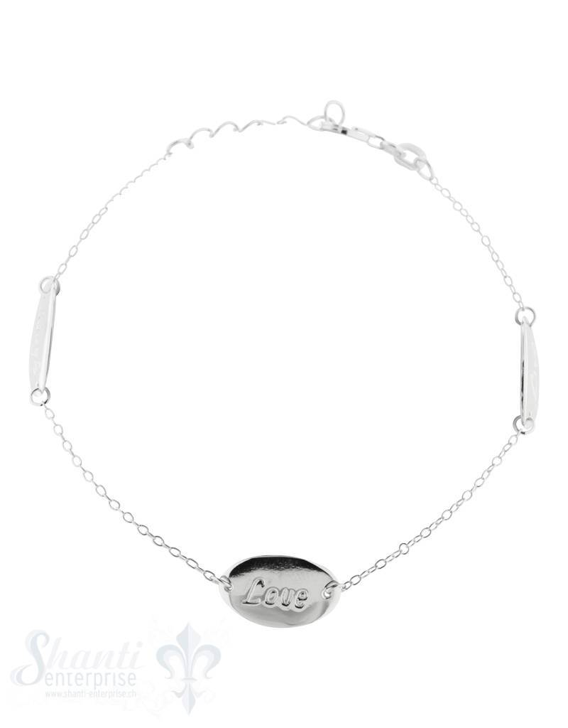 Silberarmkette mit Plättli oval, Laugh, Love, Live Karabiner, Länge 17/19 cm verstellbar
