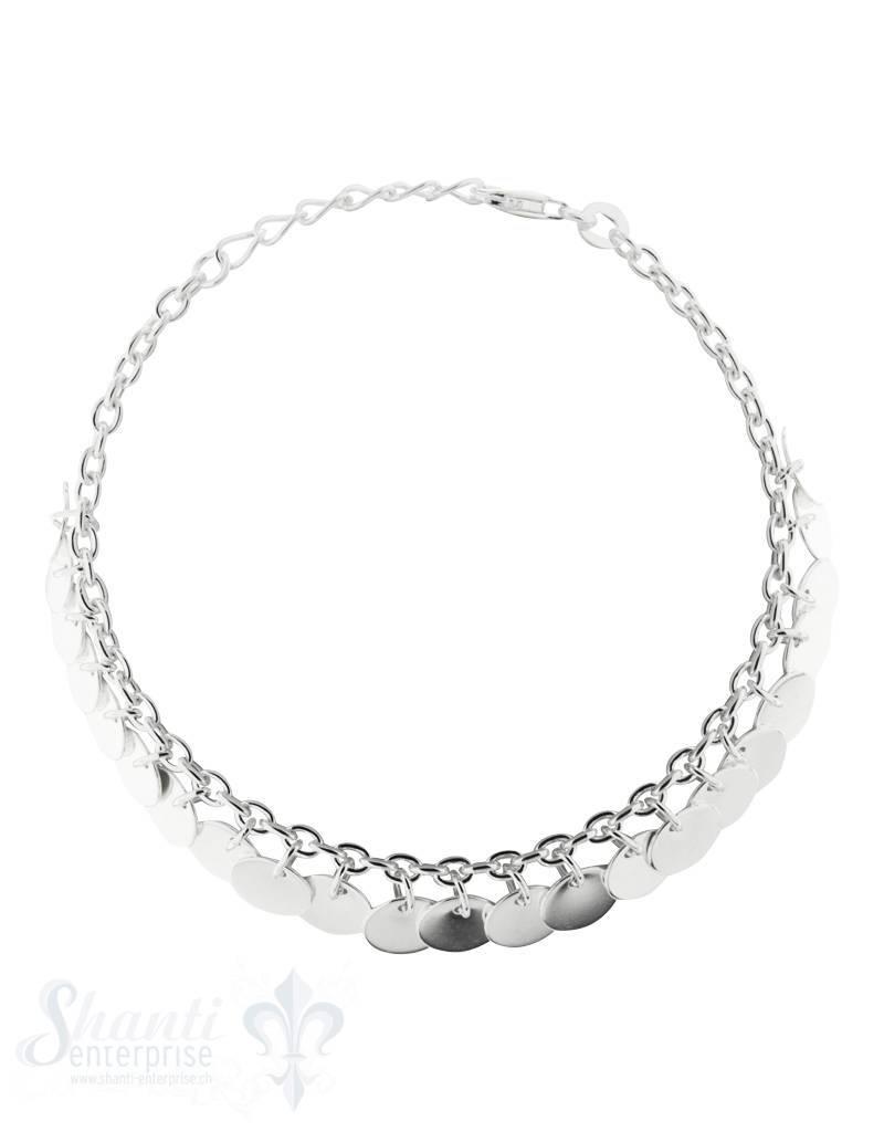 Silberarmkette: fein mit Plättchen verstellbar