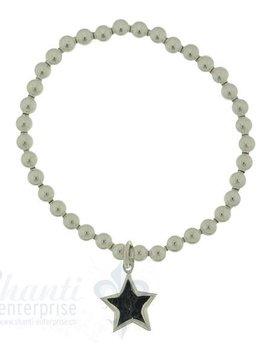 Silberarmkette: Kugeli 6 mm, mit 1 Stern D: 14 mmb 17 cm mit Gummifaden