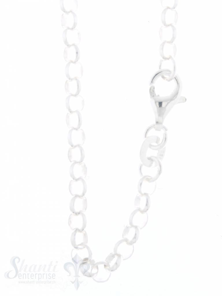 Silberkette fein Rollo flach:3,4 mm mit Schloss