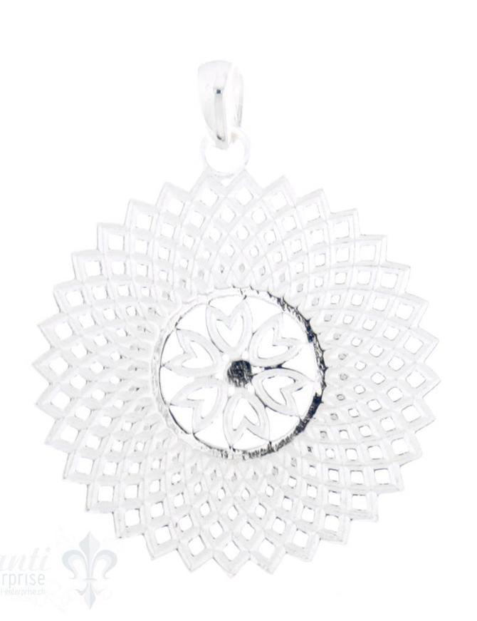Si-Anhänger: Amulett Blume in Mitte Mandala aussen 36.4 mm