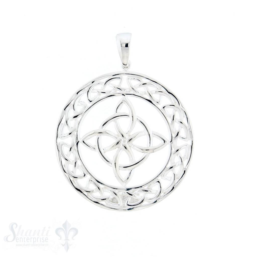 Si-Anhänger: Amulett rund keltisch durchbrochen, 30 mm