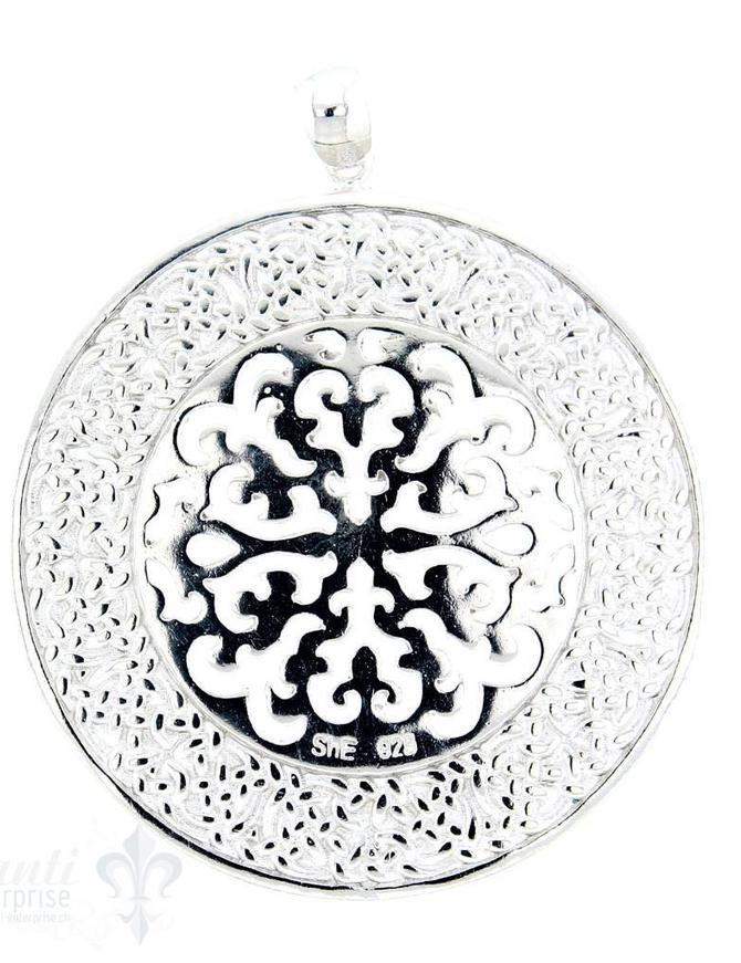 Si-Anhänger: Amulett rund mit keltischem Rand durchbrochen, 40 mm