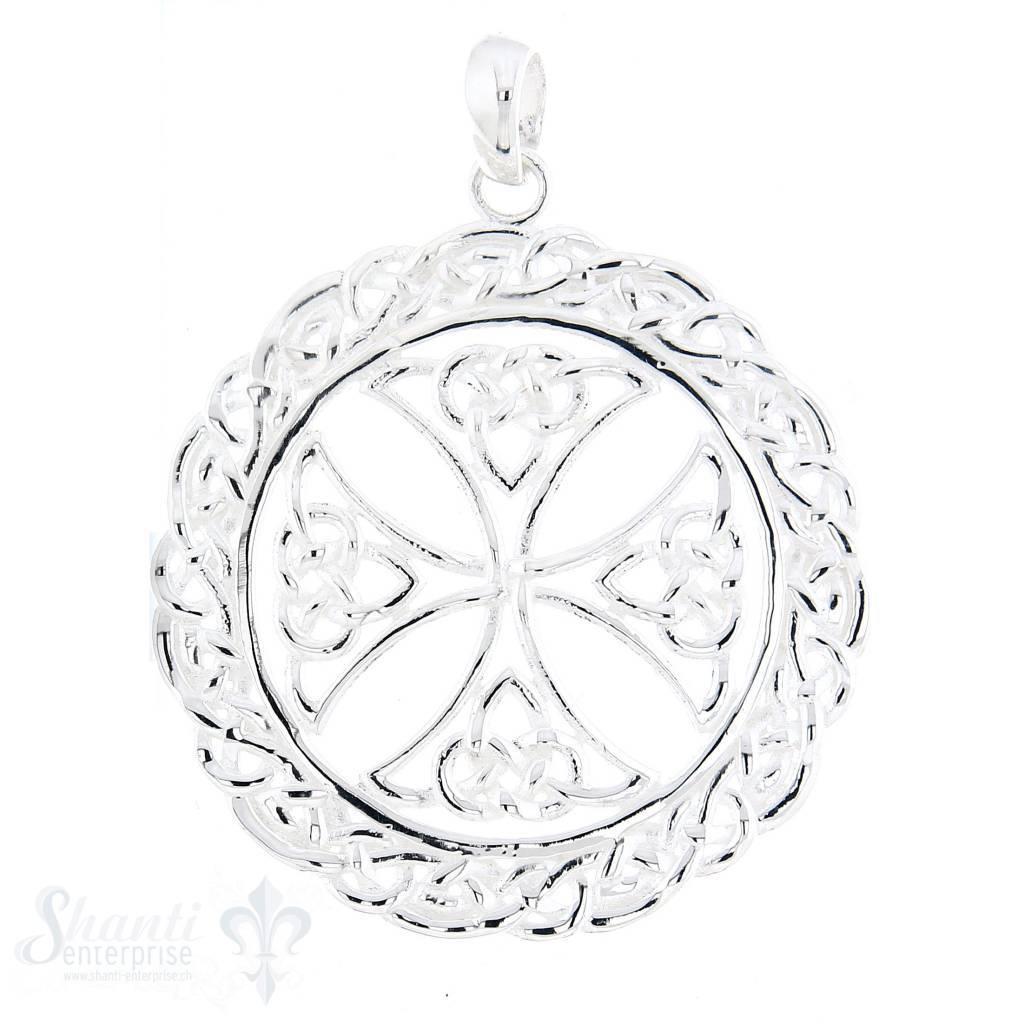 Si-Anhänger: Amulett Rand gezopft, Malteserkreuz in Mitte, D:37 cm