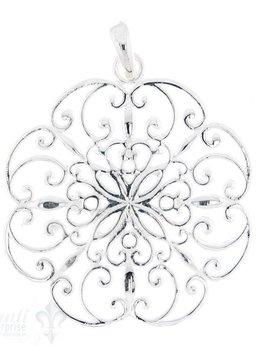 Si-Anhänger: Amulett Blume filigran verziert Kante eingebuchtet D: 40.5 mm