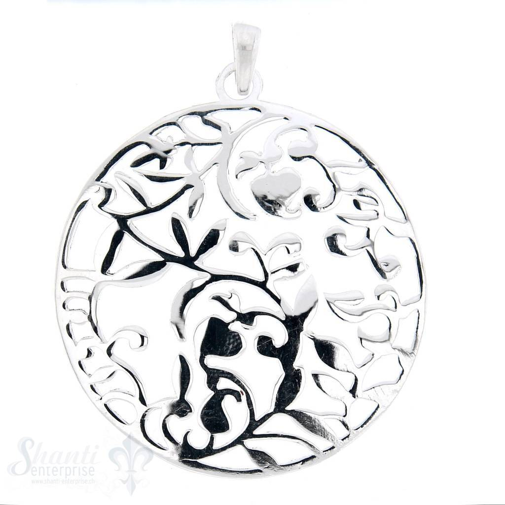 Si-Anhänger: Amulett rundl mit Blattranken durchbrochen, 40 mm