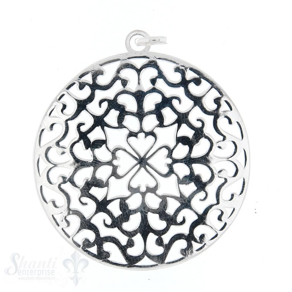 Si-Anhänger: Amulett rund mit Kleeblatt durchbrochen, 40 mm
