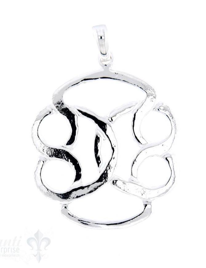 Si-Anhänger: Amulett oval durchbrochen, 32x30 mm