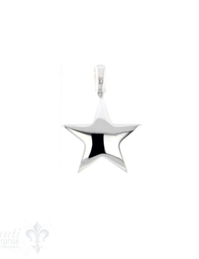 Si-Anhänger: Stern poliert D: 15 mm Dicke: 2mm