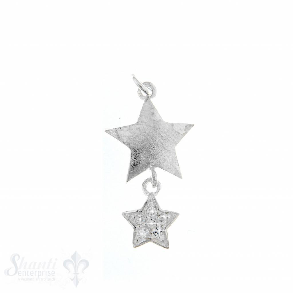 Si-Anhänger: 2 Sternen mit Zirkonia matt matt:15mm Dicke:3mm