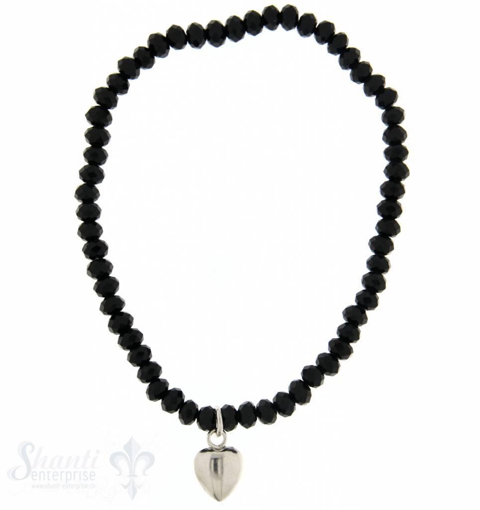 Swarovskiarmband schwarz mt Herzanhänger Silber 18 cm