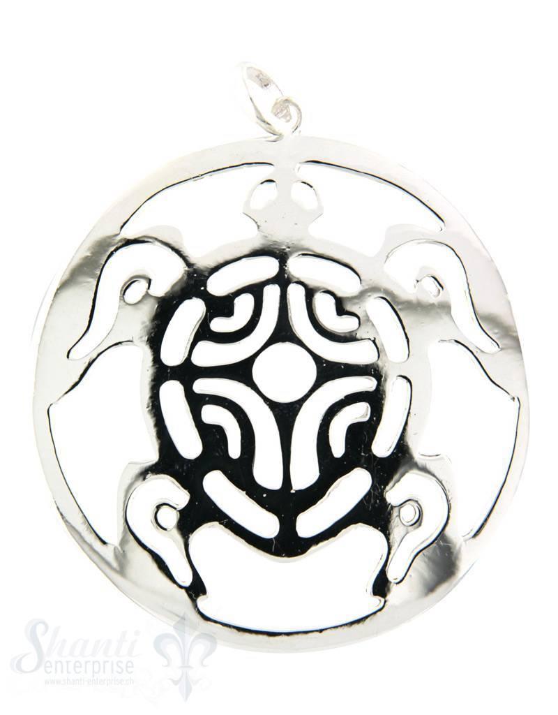 Amulett Schlidkröte poliert Silber 925 D: 51 mm