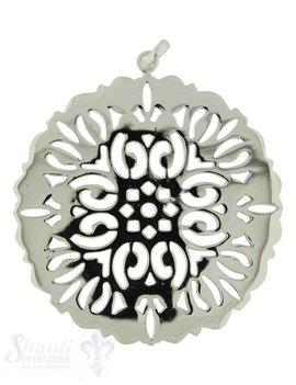 Si-Anhänger: Amulett durchbr.Blume Rand gewellt D: 51 mm, Dicke 1 mm