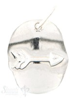 Si-Anhänger: Amulett mit Pfeil poliert D: 12mm Dicke: 1.1 mm mit Öse