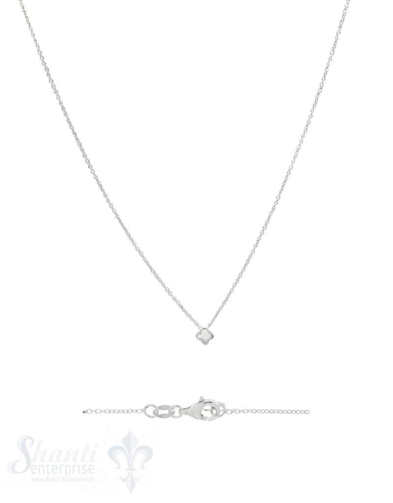 Silberketteli Anker 4-blättrige Blume fein Grössenverstellbar