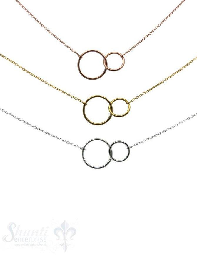 Ankerkette fein 0,9x1,2 mit 2 Ringen: 42 cm