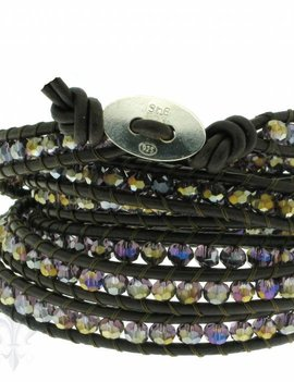 Leather Wrap Bracelet: violet cristal, 100 cm 6 x Handgelenk