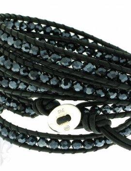 Leather Wrap Bracelet: blue cristal, 100 cm 6 x Handgelenk