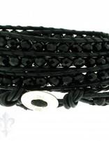 Leather Wrap Bracelet: black cristal, 100 cm 6 x Handgelenk