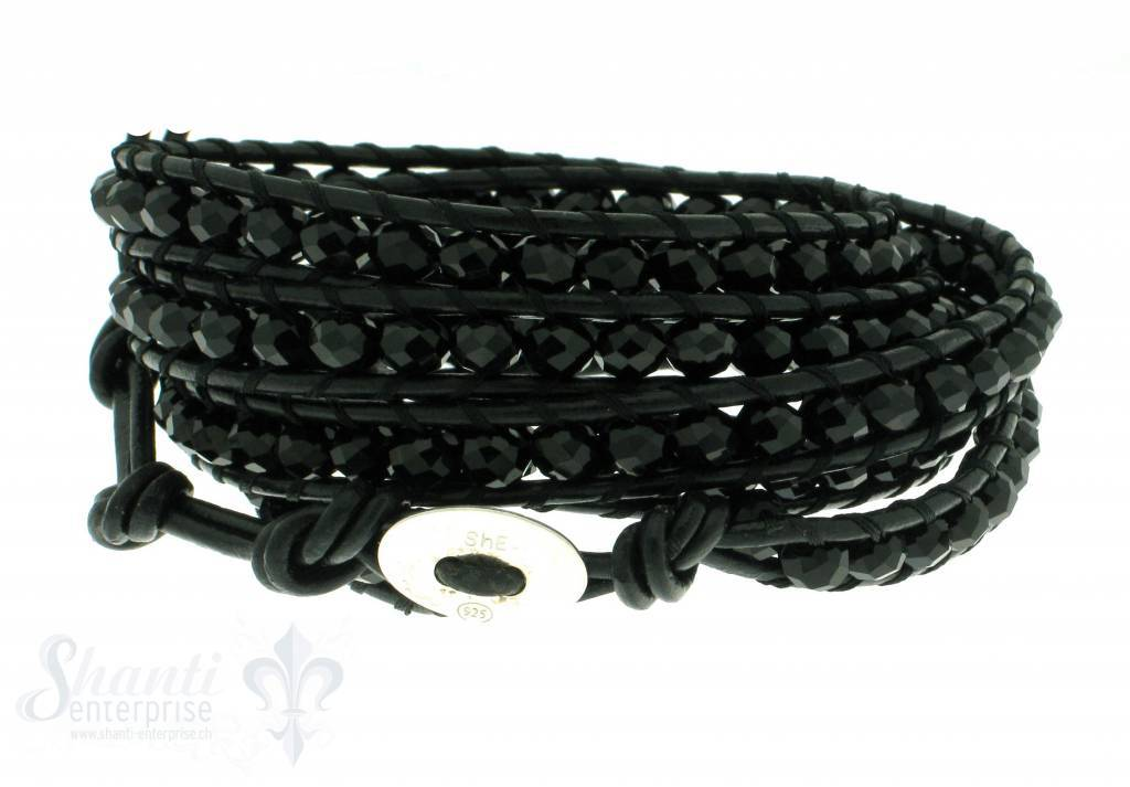 Leather Wrap Bracelet: black cristal, 100 cm 6 x Handgelenk