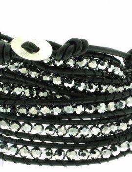 Leather Wrap Bracelet: Hämatit, 100 cm 6 x Handgelenk