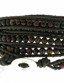 Leather Wrap Bracelet: Brekzienjaspis, 100 cm 6 x Handgelenk