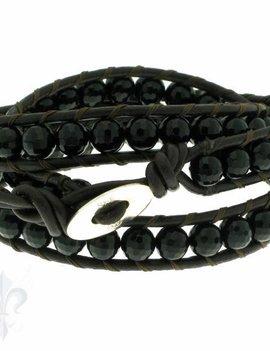 Leather Wrap Bracelet: black cristal, 50 cm 3 x Handgelenk