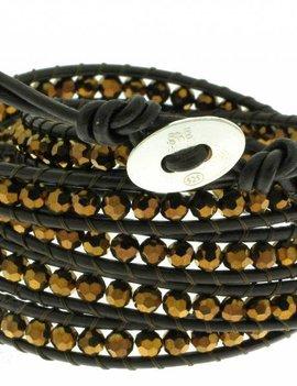 Leather Wrap Bracelet: gold cristal, 100 cm 6 x Handgelenk