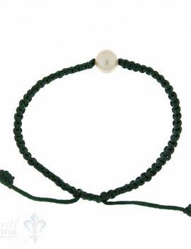 Viskose-Armband mit Perle: dunkelgrün 1-reihig, Grösse verstellbar