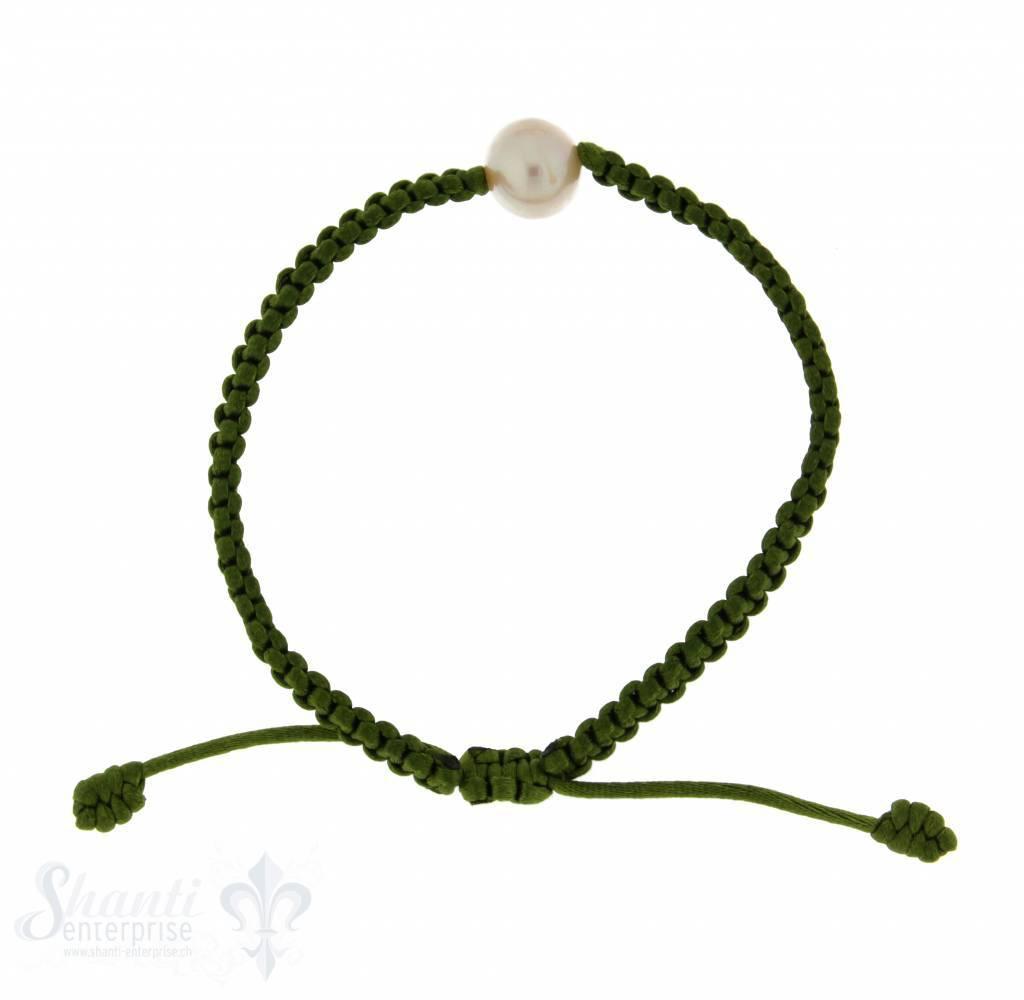 Viskose-Armband mit Perle: apfelgrün 1-reihig, Grösse verstellbar
