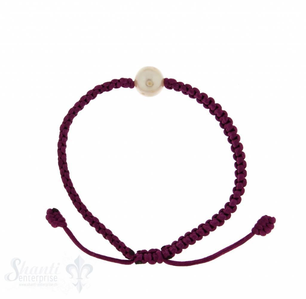 Viskose-Armband mit Perle: lila 1-reihig, Grösse verstellbar