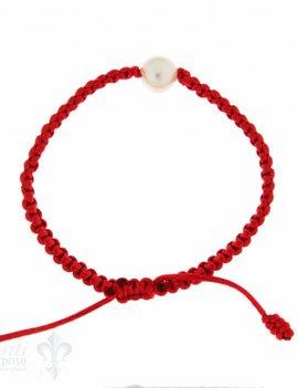 Viskose-Armband mit Perle: rot 1-reihig, Grösse verstellbar