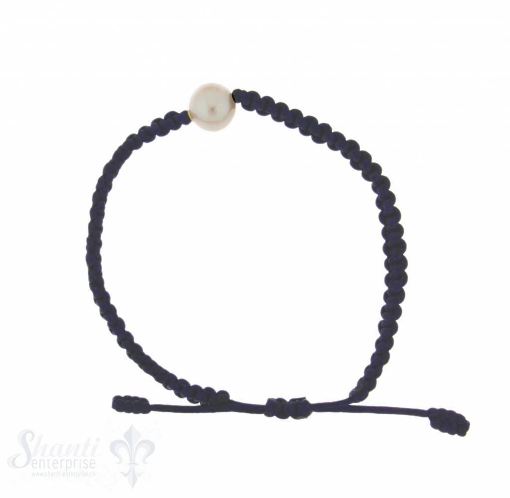 Viskose-Armband mit Perle:dunkelblau 1-reihig, Grösse verstellbar