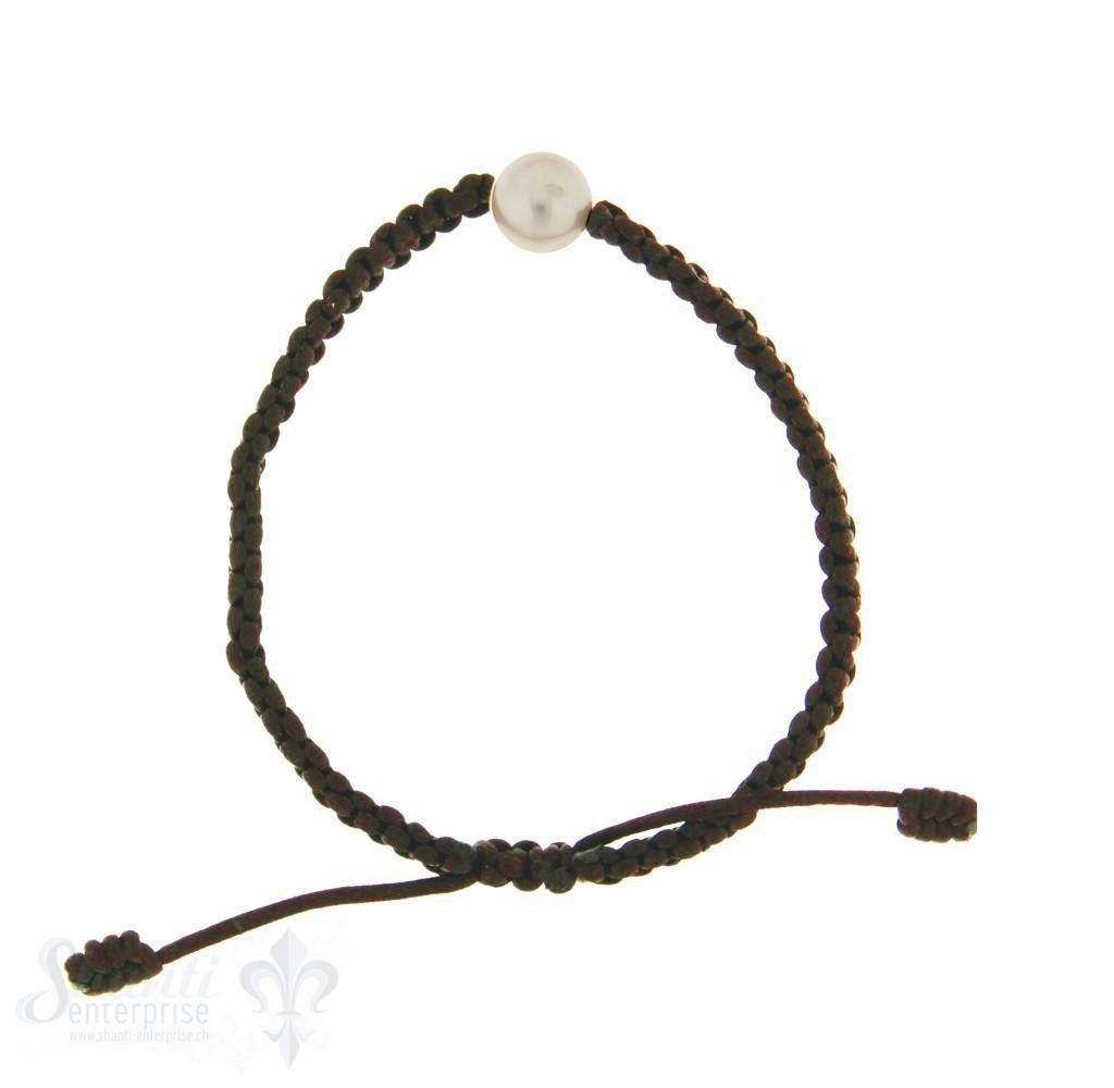 Viskose-Armband mit Perle:dunkelbraun 1-reihig, Grösse verstellbar